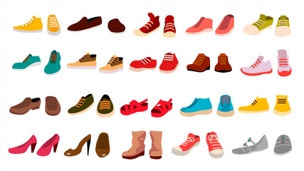 Footwear Set Vector. Stylish Shoes. For Man And Woman. Sandals. Different Seasons. Design Element. Flat Cartoon Isolated Illustration