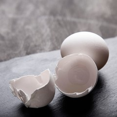 Egg on grey background.