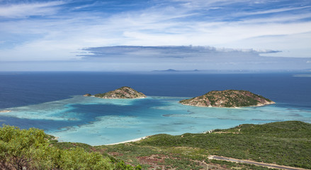 spectacular view from Captain Cooks lookout from the top of Lizard Island over the Grat Barrier Reef, Queensland, Australia