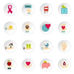 Charity set icons in flat style isolated on white background