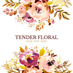 Soft rustic floral background template