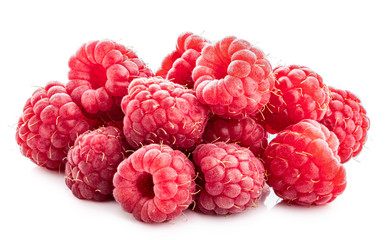 Fresh raspberry isolated on white background. Clipping path