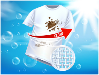 Ad vector template or magazine design. Ads poster design on blue background with white t-shirt and stains