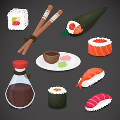 Sushi icon set - detailed, 3d, realistic. Vector art.