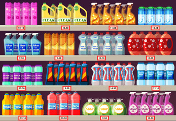 Supermarket shelves with cleaning agents