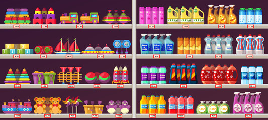 Supermarket aisle shelves with toys and chemicals