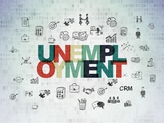 Finance concept: Painted multicolor text Unemployment on Digital Data Paper background with  Hand Drawn Business Icons