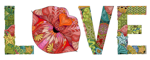 Word LOVE with lips silhouette. Vector decorative zentangle object
