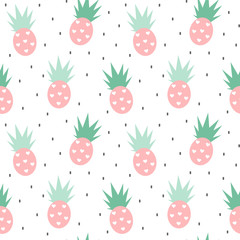 cute seamless vector pattern background illustration with pineapples with hearts and black confetti