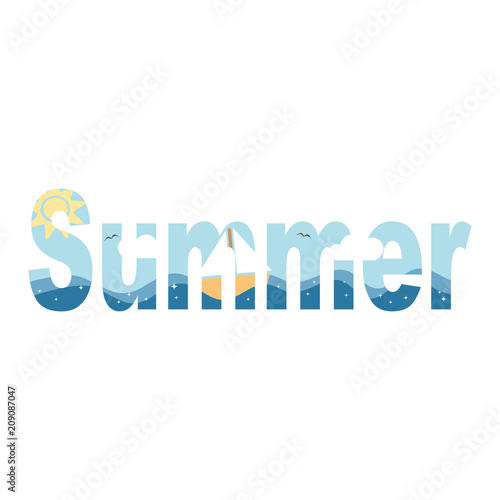 cute vector summer word with sea boat clouds and sun isolated on white background