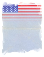 The United States of America FLAG on Original Vintage Paper, isolated on White Background, particular gradient edges and space for your Text
