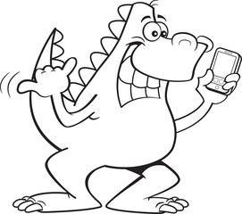 Black and white illustration of a dinosaur holding a cell phone.