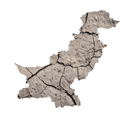 Silhouette of Pakistan. Pakistani map is fulfilled by image of dry land. Metaphor of catastrophic climate changes in area - droughts, dryland, desertification, degradation of arid soil