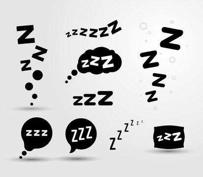 Set of Zzz sleep icon. Vector illustration graphic. Isolated on white background