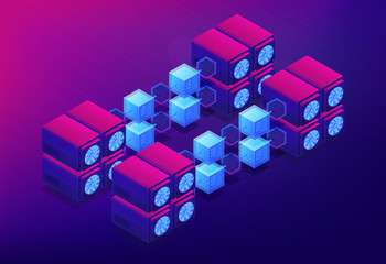 Isometric cloud mining concept. Dedicated cloud data servers for blockchain cryptocurrencies mining, computer network on ultraviolet background. Vector 3d isometric illustration.