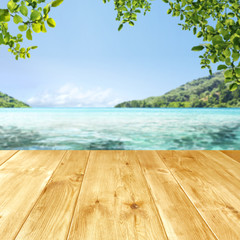 desk of free space and sea landscape