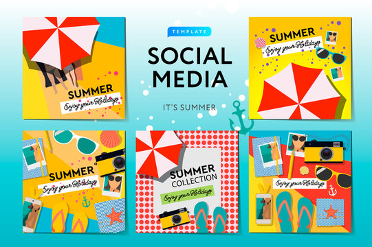Social media templates Summer Time, use for brands and blogger, modern promotion web banner for social media mobile apps, vector illustration.