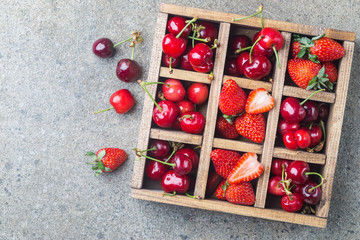 Berries in vintage wooden box