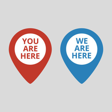 Marker location icon with you are here text.