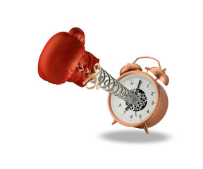 Red boxing glove springing out of alarm clock isolated on white background