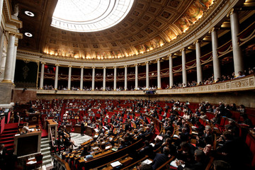 French ministers and members of parliament attend the questions to the government session prior to the vote for the French government's SNCF reform bill at the National Assembly in Paris