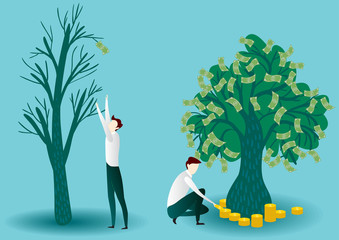 Crisis businessman and his tree without money. Successful businessman fertilize money tree by coins