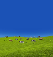 Wall Mural - Rural scenery with mottled dairy cows grazing on green farm pasture against clear blue sky background with space for text. Vertical 3D illustration.