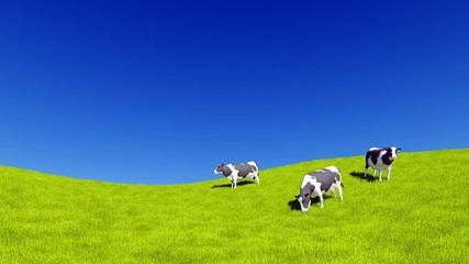 Wall Mural - Countryside landscape with mottled dairy cows grazing on green meadow against clear blue sky background with copy space. 3D illustration.