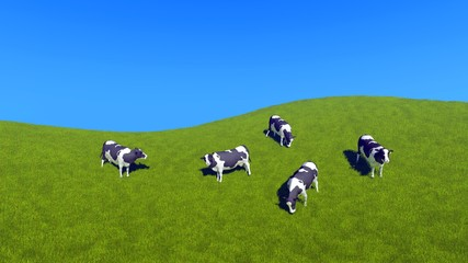 Wall Mural - Countryside scenery with dairy cows grazing on green pasture against clear blue sky background with copy space. High angle view 3D illustration.