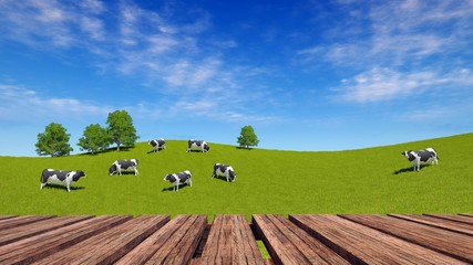 Wall Mural - Empty rough wooden planks table in perspective and rural landscape with milk cows grazing on green meadow on background. 3D illustration with copy space for dairy product placement.