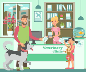 Cartoon bearded man with husky and girl with cat