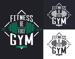 Barbell or rod, dumbbell or weight for gym t-shirt
