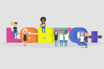 LGBTQ+ sign. LGBT. Homosexual relationships. Rainbow colors. Modern lifestyle. Young people standing and seating near by 3D letters. Flat editable vector illustration, clip art
