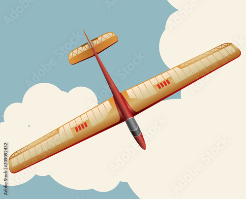 Model glider flying over sky with clouds in vintage color