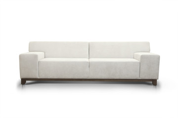 White modern luxurious sofa isolated on white background, front