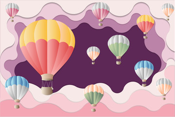 Colorful balloon on violet background - International balloon festival for artwork - Illustration