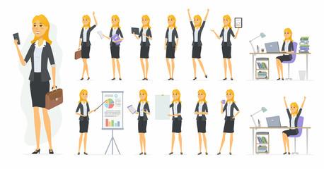 Pretty businesswoman - vector cartoon people character set