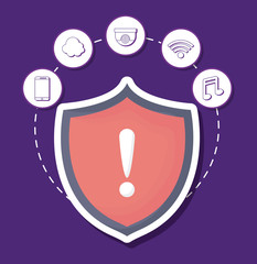 shield with smart house related icons over purple background, colorful design. vector illustration