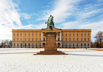 Royal palace and slottsplassen in winter Oslo Norway