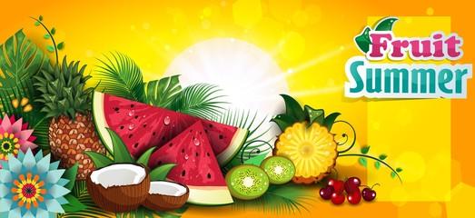 Tropical Summer Fruit Banner