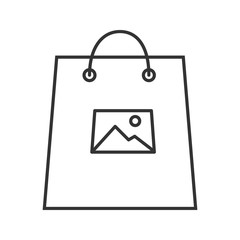 Printing on shopping bags linear icon