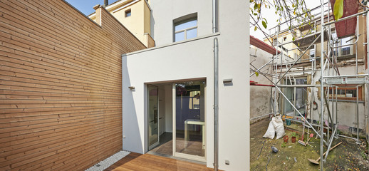 New facade in courtyard  from old house before and after