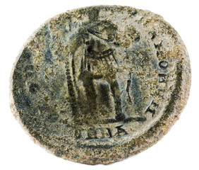 Ancient Roman copper coin of Emperor Theodosius. Reverse.