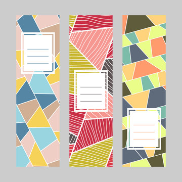 Set of vertical banners. Text frame. Abstract textures. Diagonal series. Contrast colors. Simple design for invitation, postcard or flyer.
