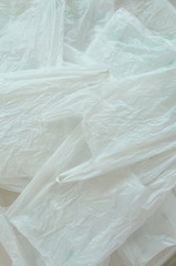 white plastic bag packing stacking on floor
