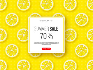 Summer sale banner with sliced lemon pieces and dotted pattern. Yellow background - template for seasonal discounts, vector illustration.