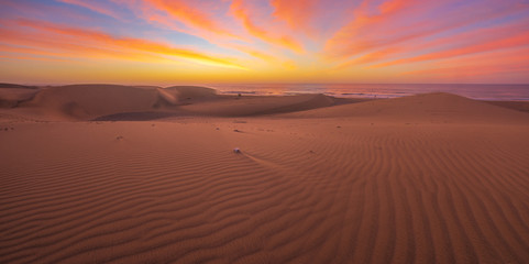 Famous natural park Maspalomas dunes in Gran Canaria at sunrise, Canary island, Spain