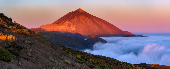 Teide volcano in Tenerife in the light of the rising sun..
