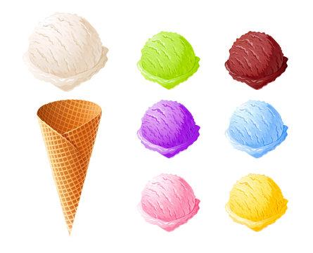Ice cream. Set of summer sweetness. Milk, chocolate, vanilla.