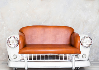 sofa in the form of a car in retro style